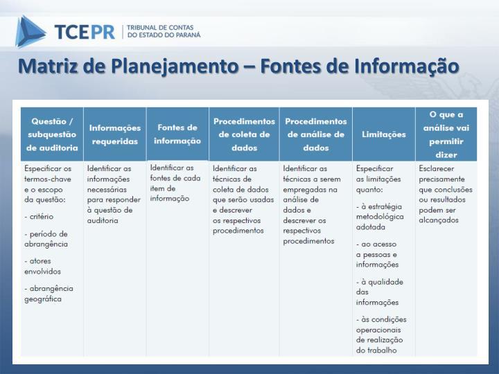 Matriz de Planejamento – Fontes de Informação