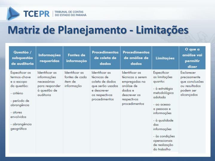 Matriz de Planejamento - Limitações