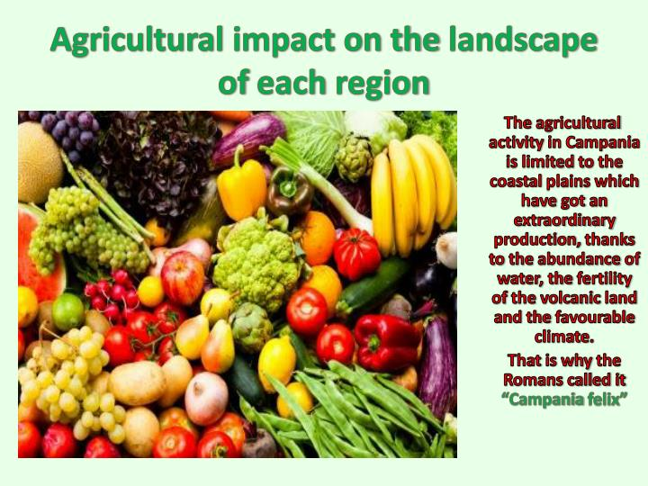 agricultural impact on the landscape of each region n.