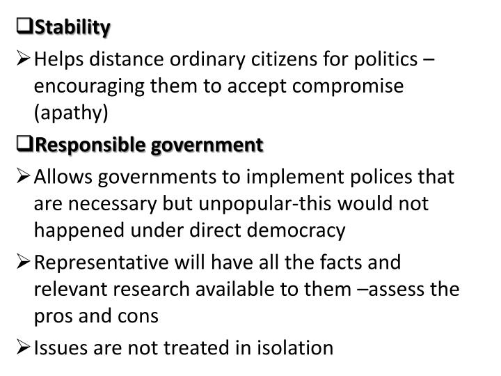pros and cons of indirect democracy