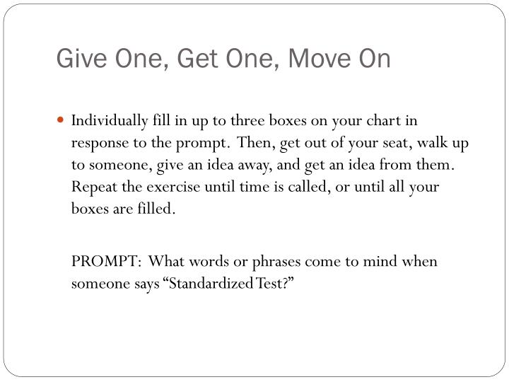 Give one get one move on