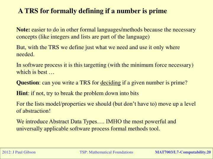 A TRS for formally defining if a number is prime