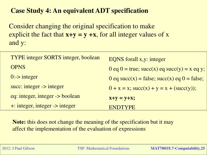 Case Study 4: An equivalent ADT specification