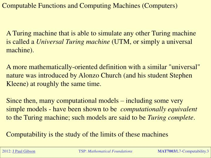 Computable Functions and Computing Machines (Computers)