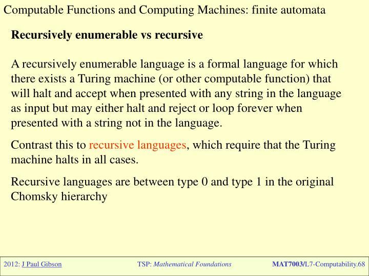 Computable Functions and Computing Machines: finite automata