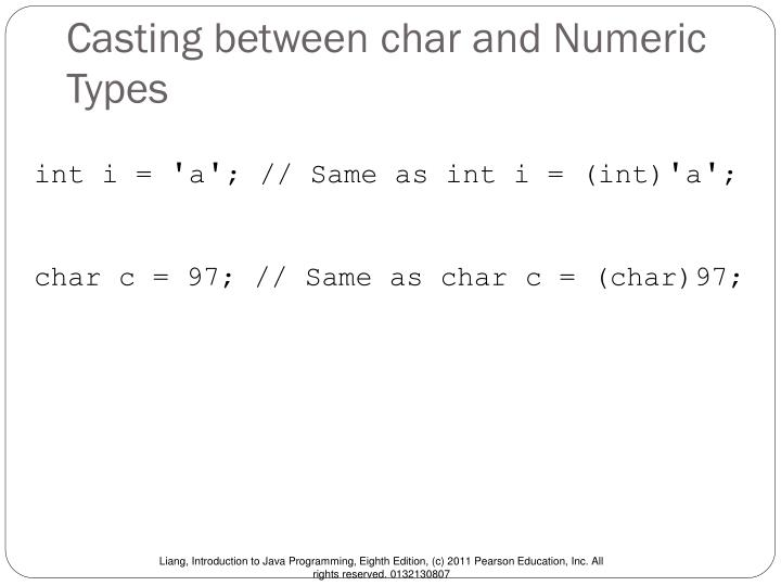 Casting between char and Numeric Types