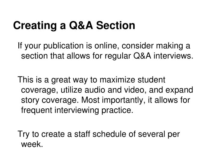 Creating a Q&A Section