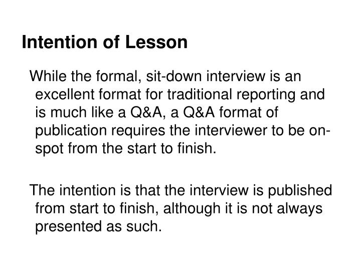 Intention of Lesson