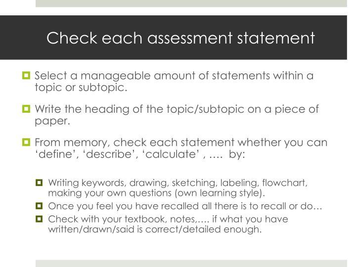 Check each assessment statement