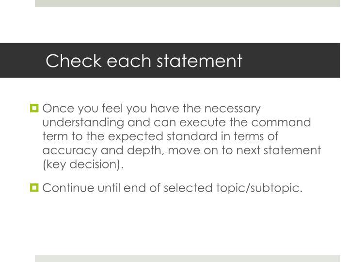 Check each statement