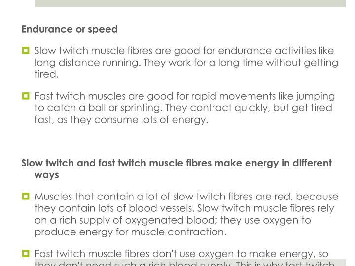 Endurance or speed