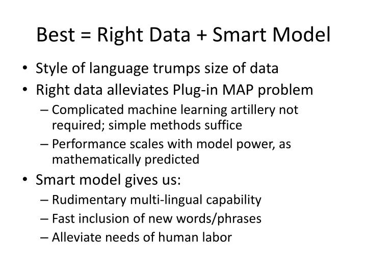 Best = Right Data +