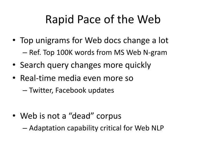 Rapid Pace of the Web