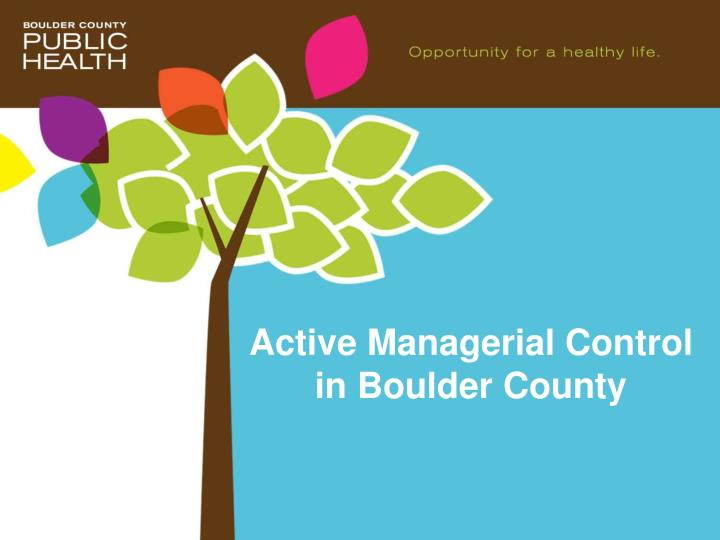 active managerial control in boulder county n.