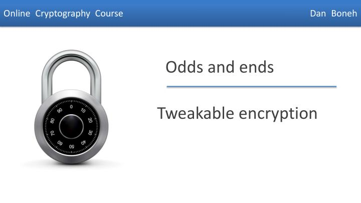 tweakable encryption n.