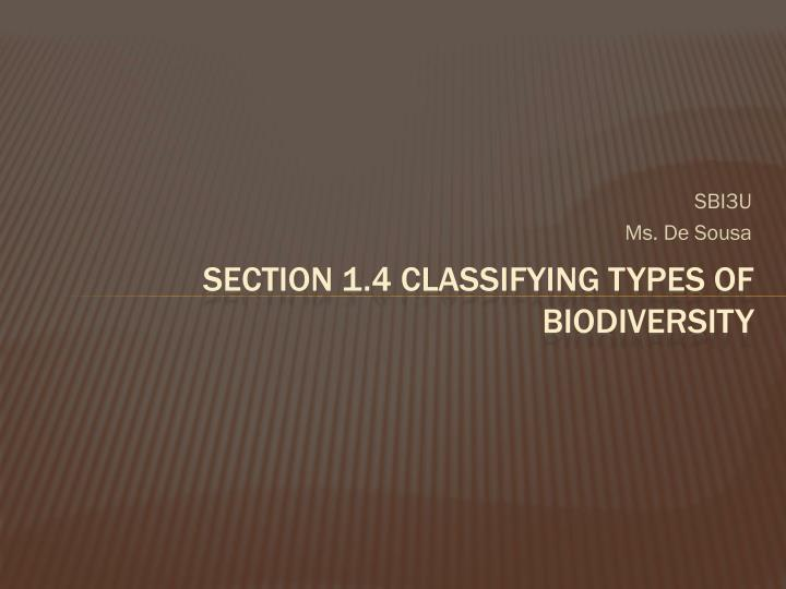 section 1 4 classifying types of biodiversity n.