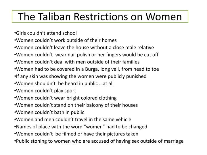 ppt the taliban powerpoint presentation id  the taliban restrictions on women