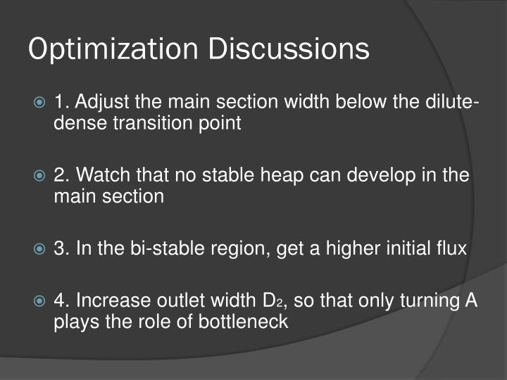Optimization Discussions