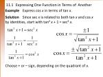 11 1 expressing one function in terms of another
