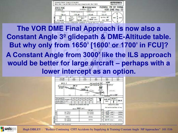 The VOR DME Final Approach is now also a Constant Angle 3º glidepath & DME-Altitude table.