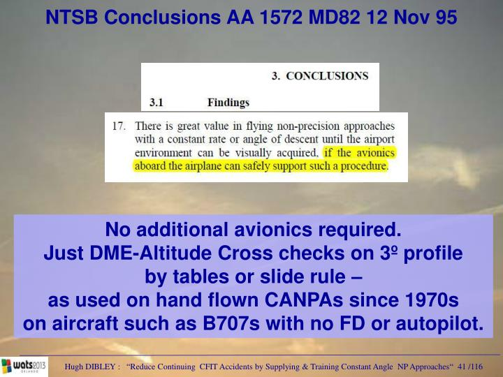 NTSB Conclusions AA 1572 MD82 12 Nov 95