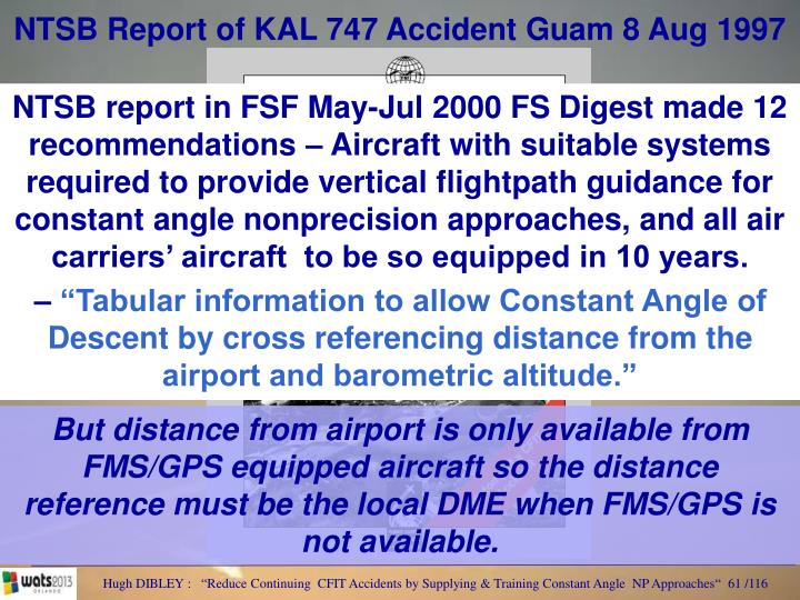 NTSB Report of KAL 747 Accident Guam 8 Aug 1997