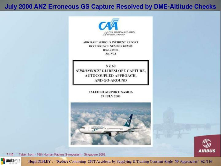 July 2000 ANZ Erroneous GS Capture Resolved by DME-Altitude Checks