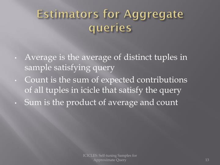Estimators for Aggregate queries