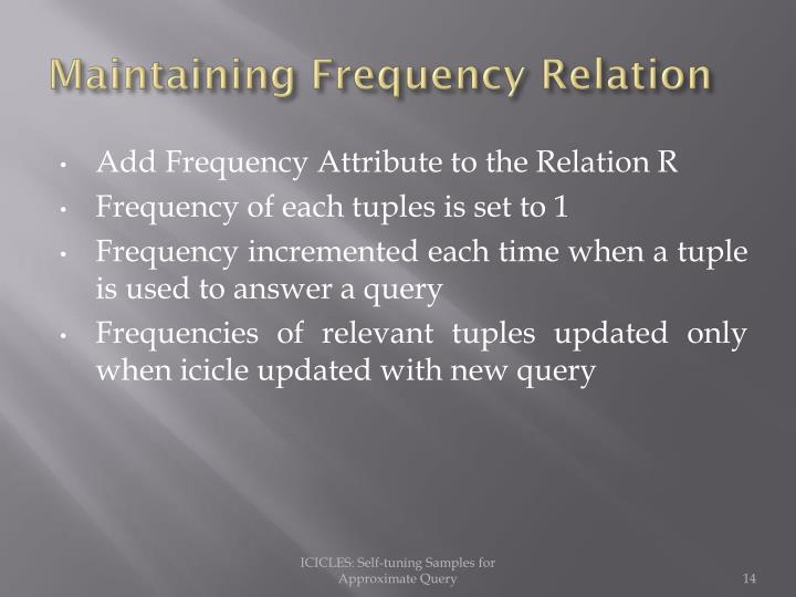 Maintaining Frequency Relation