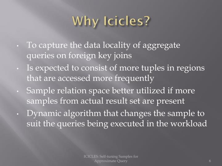 Why Icicles?