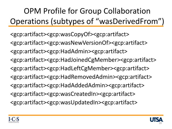 OPM Profile for Group Collaboration Operations (subtypes of ""