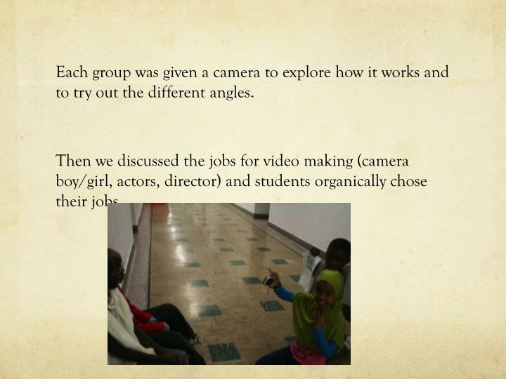 Each group was given a camera to explore how it works and to try out the different angles.