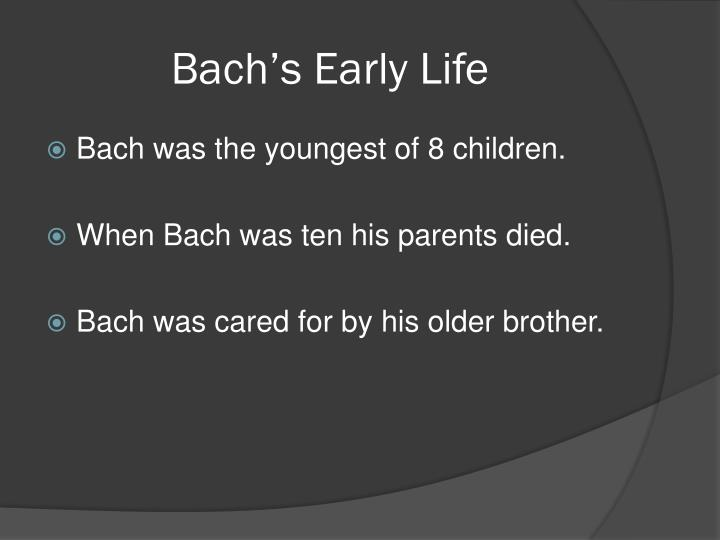 Bach s early life