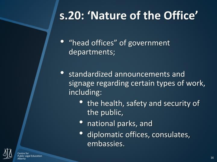 s.20: 'Nature of the Office'