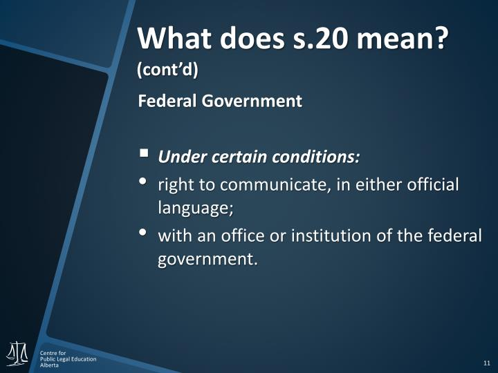 What does s.20 mean?