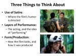 three things to think about