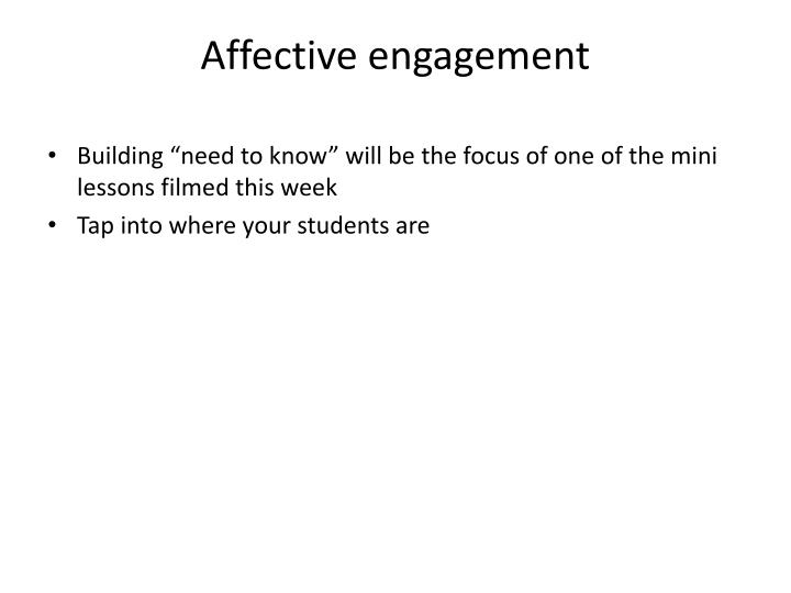 Affective engagement