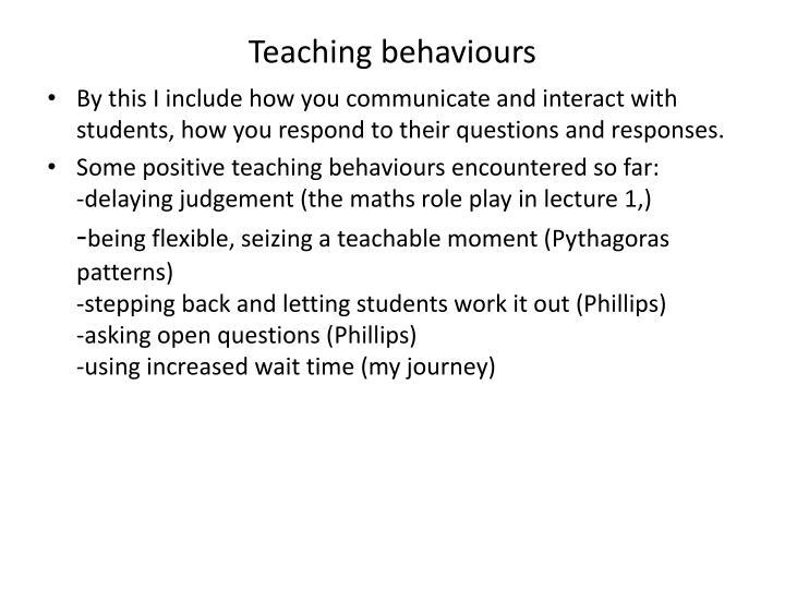 Teaching behaviours