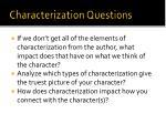 characterization questions