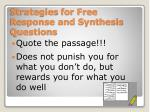 strategies for free response and synthesis questions