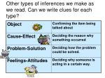 other types of inferences we make as we read can we write clues for each type