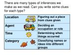 there are many types of inferences we make as we read can you write some clues for each type