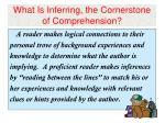 what is inferring the cornerstone of comprehension