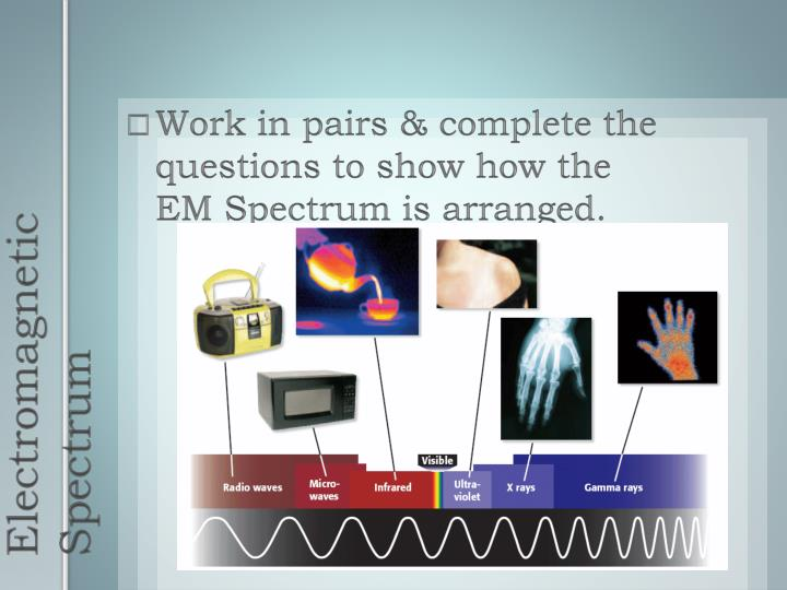Work in pairs & complete the questions to show how the  EM Spectrum is arranged.
