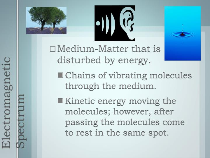 Medium-Matter that is disturbed by energy.