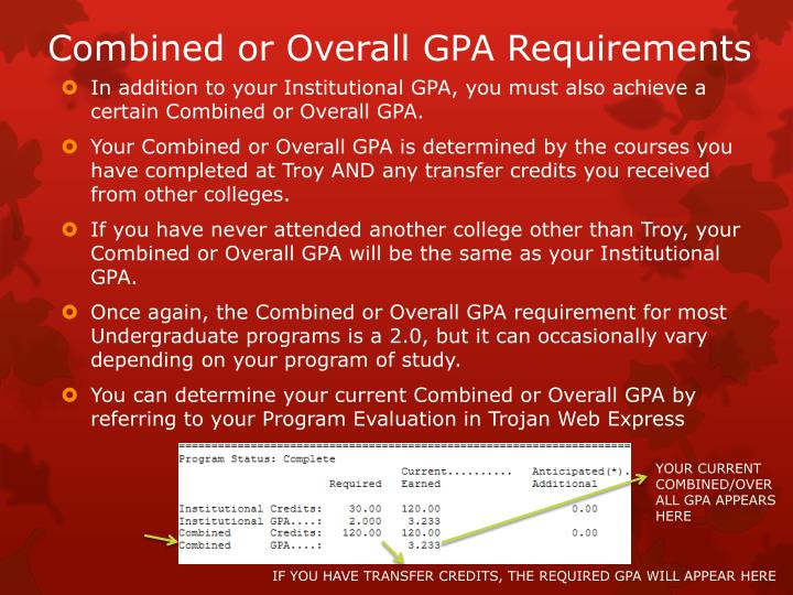 Combined or Overall GPA Requirements