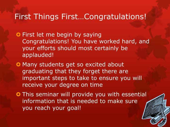 First things first congratulations