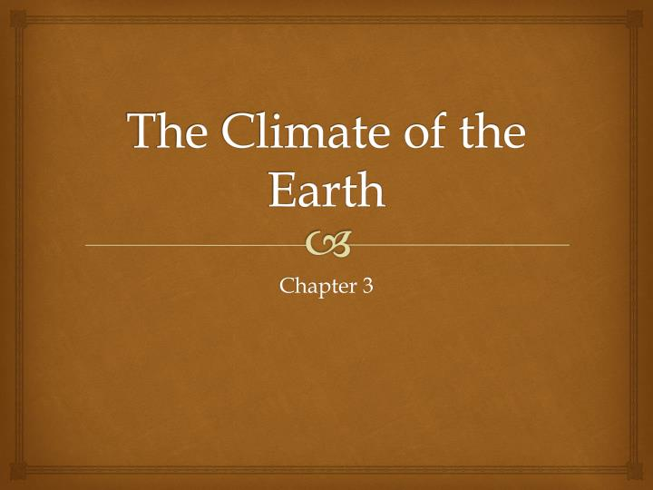 the climate of the earth n.