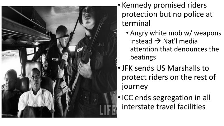 Kennedy promised riders protection but no police at terminal