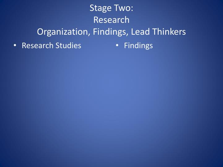 Stage two research organization findings lead thinkers